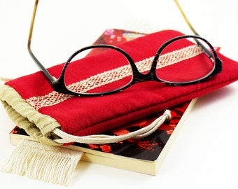 Glasses case, fleecy accessory, special lining glass, cord clamping, lace, old glasses, glasses pouch