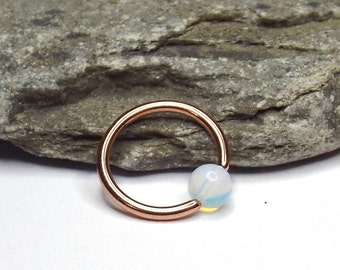 Rose Gold Plated Moonstone Cartilage Hoop Earring Captive Bead Ring Nose Ring Septum Ring 16 gauge