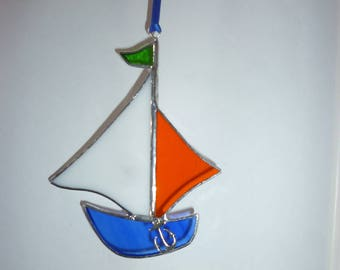 Stained Glass suncatcher, yacht