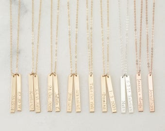 Personalized Vertical Bar Necklace // Customized 14K Gold Filled, Silver, 14K Rose Gold, Personalized Name Necklace,Meaningful Gifts // N105