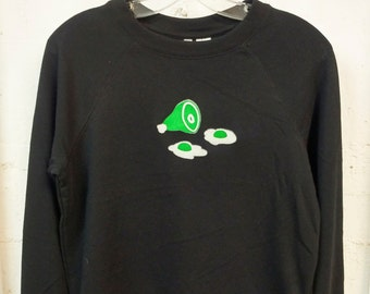 Green eggs and ham screen printed on black or dark heather sweatshirt or t-shirt