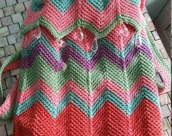 Crochet Pouch Purse with Briolette Dangles