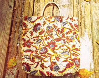 60's Flower Print Canvas Market Bag Tote Bag Batik Pattern