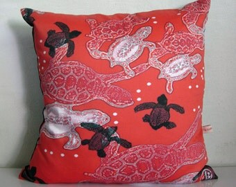 Turtle pillow cover,SEA TURTLE decor,aquatic,beach,black,red and white pillows,eco friendly organic cotton, cushion cover,43cm x 43cm