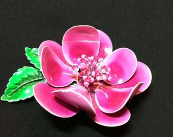 Fuschia Flower Vintage Metal Brooch
