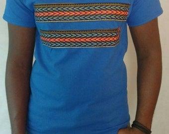 T-shirt, Dashiki T-Shirt, Blue T-Shirt, African Print T-Shirt
