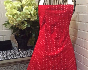 Handmade Red with white dot and white ruffle  apron. Fully lined.