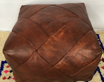 LARGE Moroccan Contemporary, Luxurious design,  100% Leather, Hand Stitched Square Pouffe Mahoney UNSTUFFED