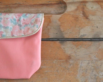 Pocket Leather / faux leather coral / makeup pouch