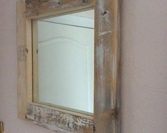 Reclaimed pine timber framed mirror