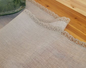 Table runner, gray linen, gray lace, 100% natural, different lengths, dining runner
