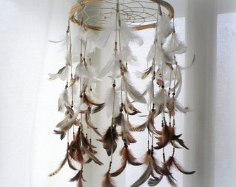 Baby mobile dream catcher, gender neutral rustic tribal nursery dreamcatcher white brown feather crib mobile large willow hoop dream catcher