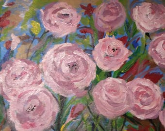 Pink Roses, ORIGINAL Impressionist Painting, Acrylic on Canvas