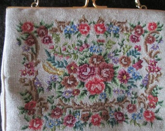 Miniature petit point vintage purse. Perfect for prom, wedding or little girl dress up. Like new tiny petit point purse.