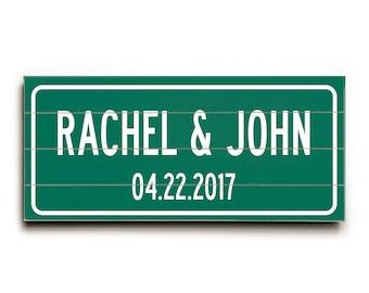 Personalized wedding sign, original gift for couple, custom wedding wood plank, wedding highway sign print on wood, anniversary gift