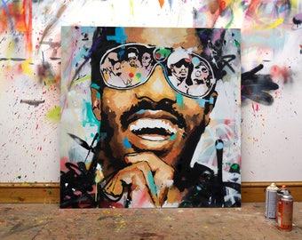"Stevie Wonder, Original Painting, 40"", Large, Art, Music, Portrait, Graffiti, MoTown, Contemporary, Sir Duke, Richard Day"