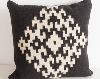 "20x20"" Black and White Wool Pillow Sham"
