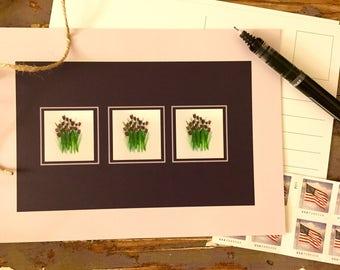 Lavendar Tulip Postcards//Tulip Cards//Handmade Postcards