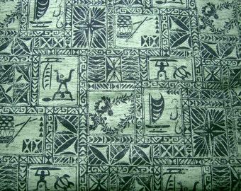 Trendtex Fabrics Green Batik YL-001R*Tribal Hawaiian Fabric*Cotton Poplin Material*Tattoo Tappa Designs*Fabric by the Yard*Hawaiian Textile