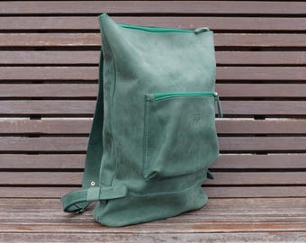 HandMade GREEN LEATHER BACKPACK  / Handcrafted leather Rucksack with one front zipper pocket