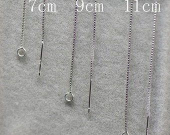 10 pcs/7CM/9CM/11CM.925 Sterling Silver Sterling Box Chain Ear Line with Ring-long threader earrings-chain earrings-ear thread earrings