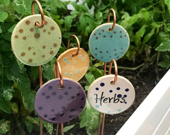 Customizable Garden Markers - Copper and Ceramic Garden Markers - Vegetable Garden Markers - Herb Markers - Garden Marker - Pottery Marker