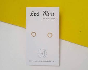 Earrings - yellow gold plate - circles small earrings minimalists