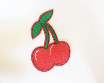 Cute Red Cherry Cherries Rockabilly Hippie Sew or IRON ON PATCHES Retro Child Kid Embroidered Bag Hat Clothing Patch