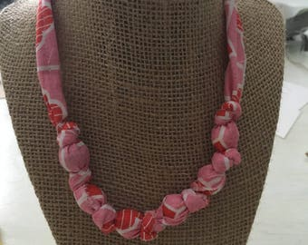 Handmade fabric bead necklace