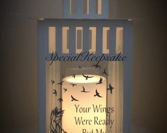 Personalised LED Candle Lantern Quote Memorial Heaven Mothers Day Fathers Day Gift Angel Baby White Black Lantern Safe Flameless Wedding