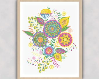 Happy Flowers-Bright-Cheerful-Wall Art-Digital Print-Multi Coloured-Florals-Fun