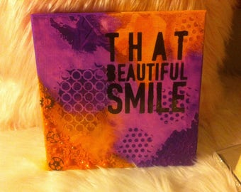 That beautiful smile. Purple and orange mixed media canvas
