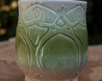 Mug - Nouveau with Sand and Green Glaze on White Porcelain