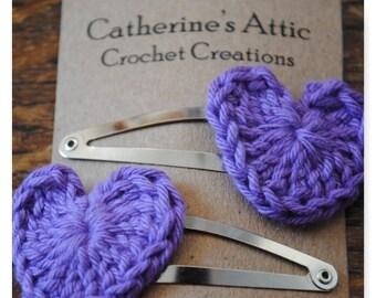 Purple heart hair clips