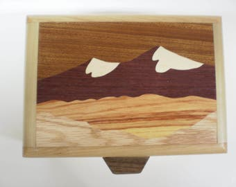 Handcrafted wood inlay box depicting snow-capped mountain peaks-box-4