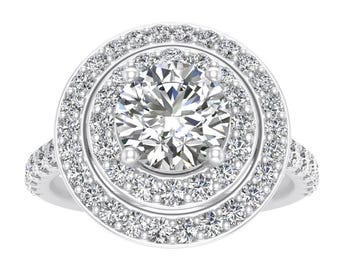 1.00ctw Diamond Halo Engagement Ring in 10k White Gold