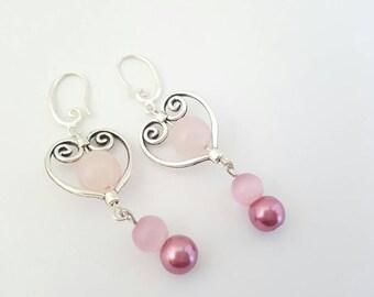 Pink heart earrings - Valentine earrings - pink dangle earrings - Pink drop earrings - Pink earrings - Heart shaped earrings - Gift for wife