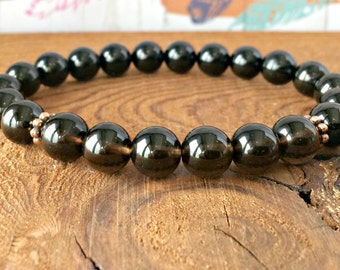 AAA Grade Black Tourmaline & Smoky Quartz Bracelet, Chakra Yoga Mala Beads, Healing Crystals, Protection-Stress Relief-Emotional Wellness
