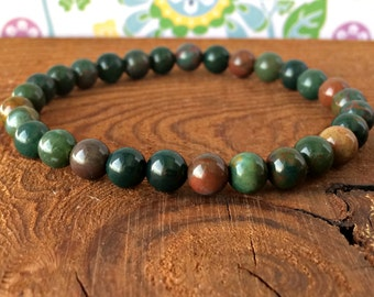 A Grade 6mm Bloodstone Bracelet, Bloodstone Jewelry, Heliotrope, Root Chakra, Healing Crystals, Anxiety Relief - Protection - Courage