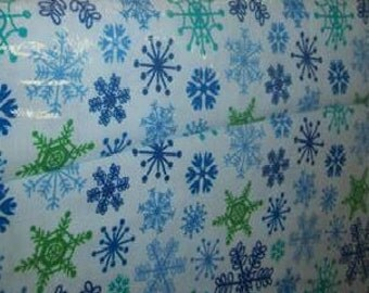 Snowflakes cotton fabric sold by the yard