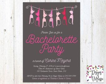 Lingerie Shower Invitation - Clothesline Invitation - Hen Party - Pink Bachelorette Party -Pink Lingerie Shower-Lingerie Invite-DIGITAL FILE
