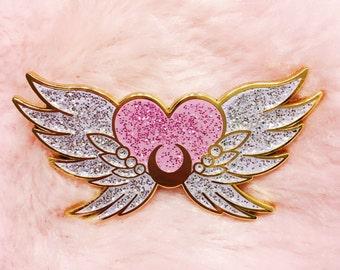 Eternal Sailor Moon - lapel enamel pin glitter kawaii anime manga cute glitter sparkle lolita fairy kei pastel pink