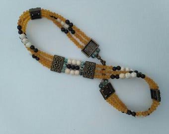 Oker choker triple necklace - oker jade, howlite & African torquis.