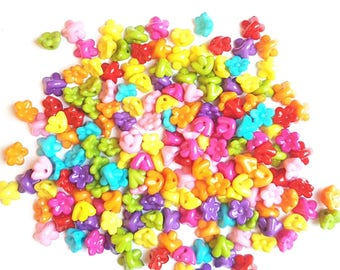 Plastic Beads, Multi coloured, multi colour beads, Red Beads, Orange Beads, Easter Beads, Jewellery Beads, Baby Buttons, Destash Sale