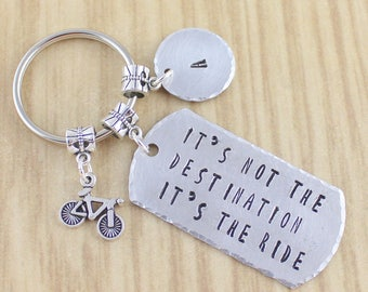 Bicycle Keychain | Bike Keychain | It's Not The Destination It's The Ride Keychain Personalized | Bicycling Gift | BMX Bike Riding Gift SRA0