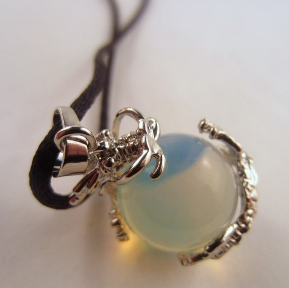 Opalite Dragon ball Necklace: Natural Crystal Pendant, Stone Jewelry