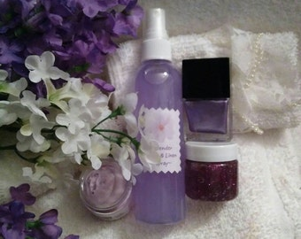Lavender Bath Gift Bag~Purple Beauty Products~Bath Products~Moisturizers~Mothers Day Gift~Body Spray~Polish~Body Glitter