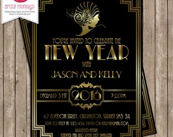 Printable Gatsby New Year's Eve Invitation