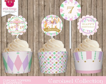 Printable Carousel Party Cupcake Toppers and Wrappers | Personalized
