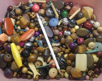 Gorgeous Wooden Beads! 2 lbs 6oz Large assortment